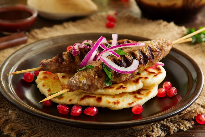 kebab of lamb, with homemade bread.   kebab of lamb, with ...